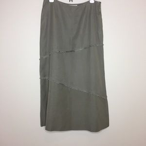 WORTH Olive Skirt fringe wool silk size 10
